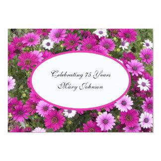 75th Floral lindo do convite de aniversário