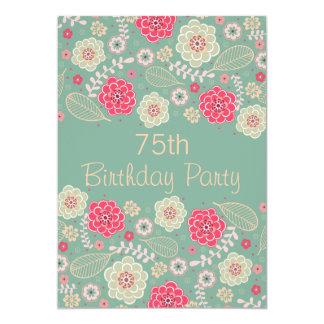 75th Floral moderno Funky chique da festa de Convite 12.7 X 17.78cm