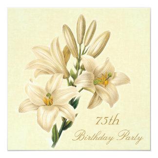 75th Flores chiques do lírio do vintage da festa Convite Quadrado 13.35 X 13.35cm