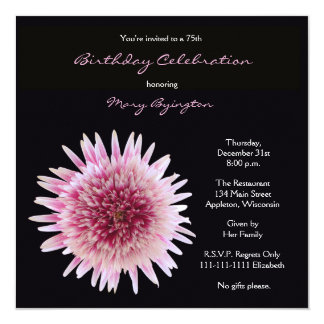75th Gerbera lindo do convite de aniversário