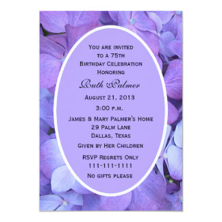 75th Hydrangea do convite de aniversário