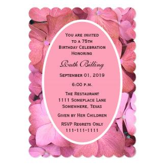 75th Hydrangeas Scalloped rosa da festa de Convite 12.7 X 17.78cm