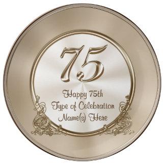 75th ideias personalizadas do aniversário para a pratos de porcelana