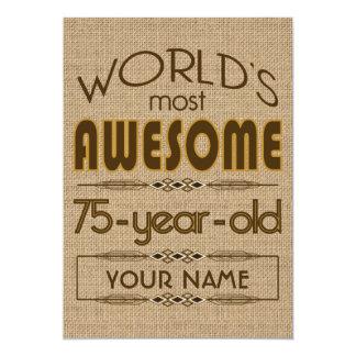 75th Mundo da celebração do aniversário melhor Convite 12.7 X 17.78cm