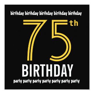 75th Ouro moderno e preto da festa de aniversário Convite Quadrado 13.35 X 13.35cm