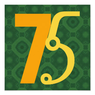 75th Ouro vermelho G874 moderno do aniversário Convites