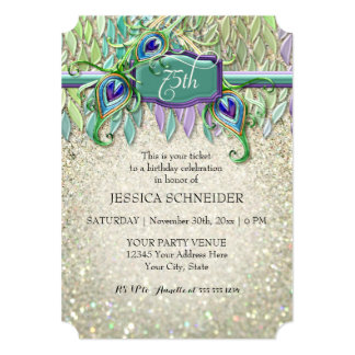 75th Pena do pavão do bilhete da festa de Convite 12.7 X 17.78cm