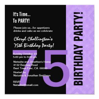 75th Preto roxo moderno C848 do aniversário Convite Quadrado 13.35 X 13.35cm