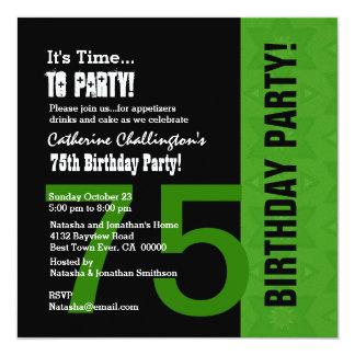 75th Preto verde moderno C848C do aniversário Convites
