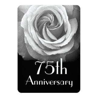75th Rosa branco A04A do diamante do aniversário Convite 12.7 X 17.78cm