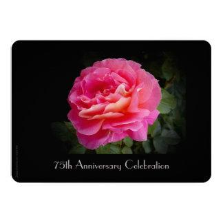 75th Rosa do rosa do convite da celebração do
