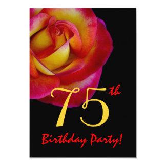 75th Rosa vermelho e amarelo do modelo do Convite 12.7 X 17.78cm