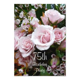 75th Rosas Celebração-Cor-de-rosa do aniversário Convite 12.7 X 17.78cm