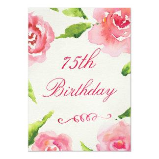 75th Rosas chiques da aguarela do aniversário Convite 12.7 X 17.78cm