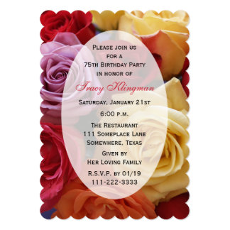 75th Rosas da cor da festa de aniversário multi Convite 12.7 X 17.78cm