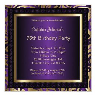 75th Roxo da festa de aniversário e convite do