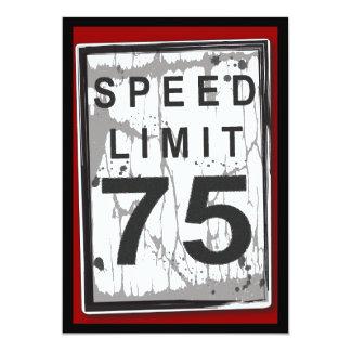 75th Sinal sujo do limite de velocidade da festa Convite 12.7 X 17.78cm