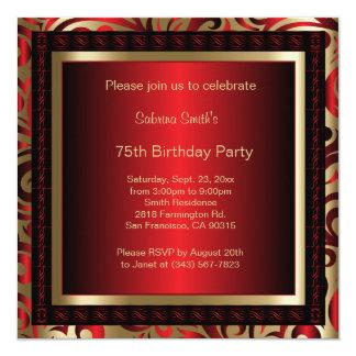 75th Texto da festa de aniversário | DIY Convite Quadrado 13.35 X 13.35cm