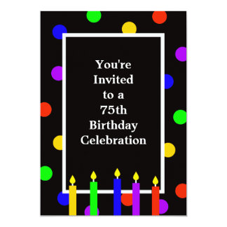 75th Velas coloridas do convite de aniversário