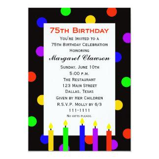 75th Velas e pontos do convite de aniversário