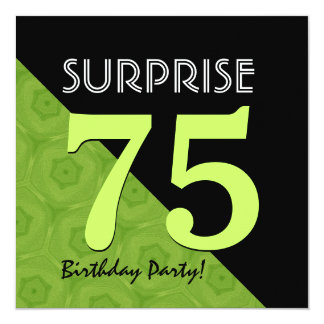 75th Verde limão do aniversário da surpresa e V06B Convite Quadrado 13.35 X 13.35cm