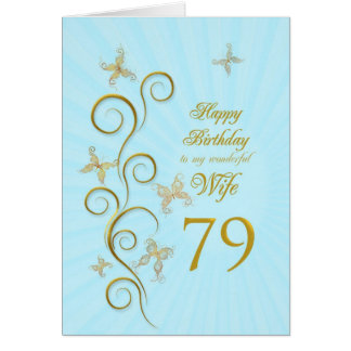 79.o aniversário da esposa com borboletas douradas cartao