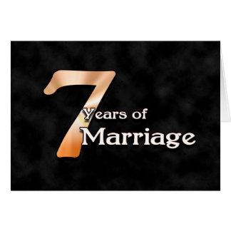 7 anos de casamento (aniversário de casamento) cartão comemorativo