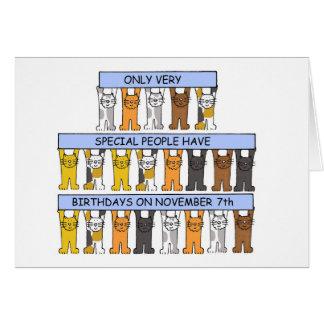 7 de novembro aniversários comemorados por gatos cartão comemorativo