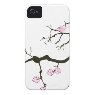 7 flores com pássaro cor-de-rosa, fernandes tony capa para iPhone 4 Case-Mate