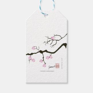 7 flores com pássaro cor-de-rosa, fernandes tony etiqueta para presente