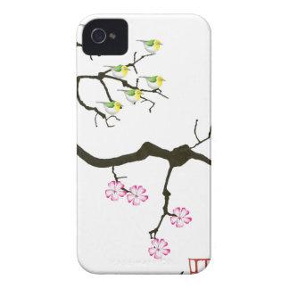 7 flores de sakura com 7 pássaros, fernandes tony capa para iPhone 4 Case-Mate