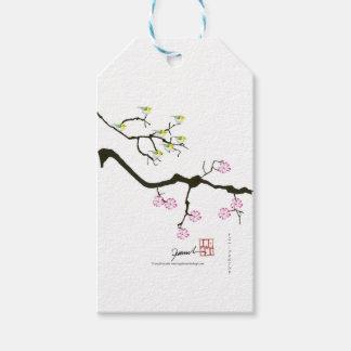 7 flores de sakura com 7 pássaros, fernandes tony etiqueta para presente