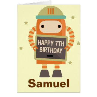 7o Cartão personalizado vintage do robô do