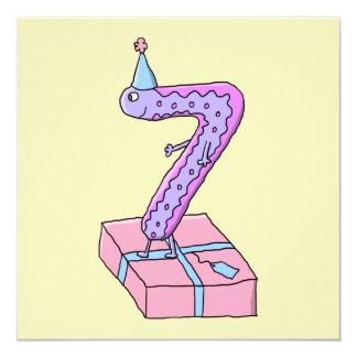 7o Desenhos animados cor-de-rosa e roxos do Convites Personalizado