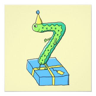 7o Desenhos animados, verde e azul do aniversário Convite Quadrado 13.35 X 13.35cm