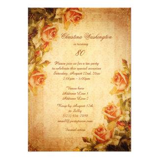 80 dos rosas do pêssego do chique do damasco do vi convites