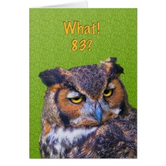 83rd Cartão de aniversário com a grande coruja