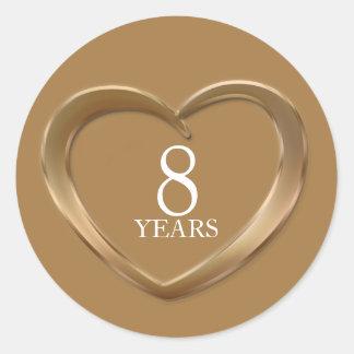 8 anos de etiquetas de bronze do coração do