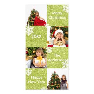 8 quadrados esverdeiam cartões de foto de Natal do Cartão Com Foto