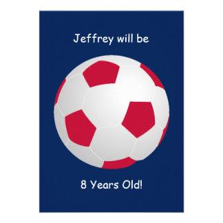 8o Bola de futebol do convite de aniversário