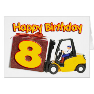 8o cartão de aniversário com um caminhão de empilh