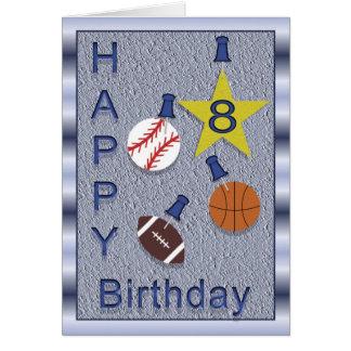8os esportes felizes do aniversário - cartão