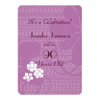 90 anos de festa de aniversário floral roxa idosa convite personalizado