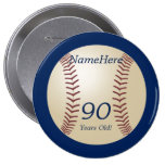 90 anos velho, basebol no Pin azul do botão Botons