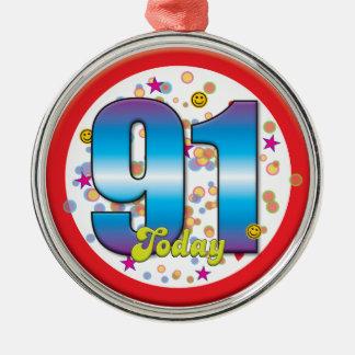 91st Aniversário hoje v2 Ornamentos Para Arvore De Natal