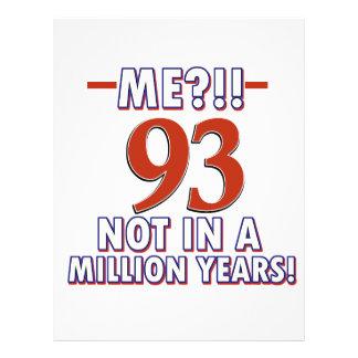 93rd festa de aniversário do ano modelos de papel de carta
