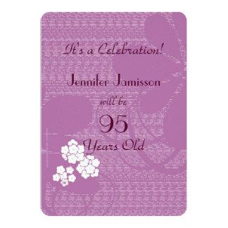 95 anos de festa de aniversário floral roxa idosa convite 12.7 x 17.78cm