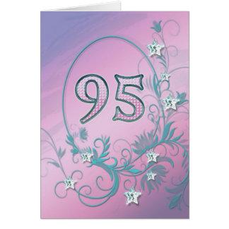 95th Cartão de aniversário com estrelas do