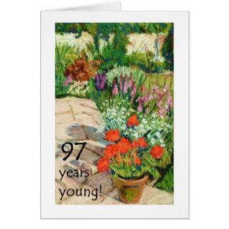 97th Cartão de aniversário - gerânio vermelhos