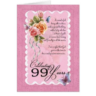 99 anos de cartão velho - rosas e borboletas